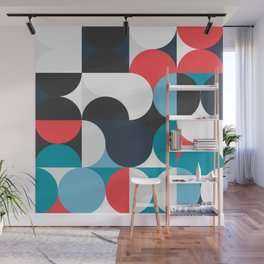 Circles Curves Shapes, Abstract and Geometry, Red, White, blues, black Wall Mural