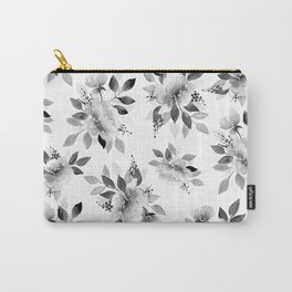 Black and White Watercolor Flowers Carry-All Pouch