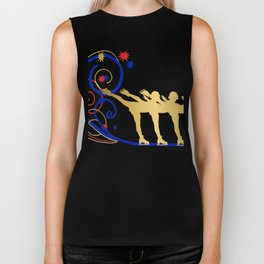 Gold Silhouette Synchro Team Graphic Design Biker Tank