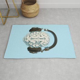 Mind Music Connection /3D render of human brain wearing headphones Rug