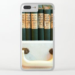 Aged Books in a Suitcase Clear iPhone Case