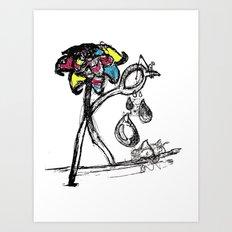 The Sad Fisherman and the Running Scissors Art Print