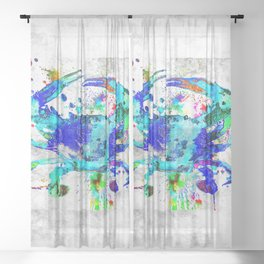 Blue Crab Sheer Curtain
