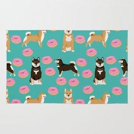 Shiba Inu donuts food cute dog art sweet treat dogs pet portrait pattern Rug