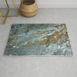 Earthy Blue and Gold Rock Rug