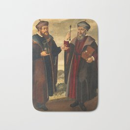 SS. Cosmas and Damian in a landscape. Oil painting, 17th c. b Bath Mat