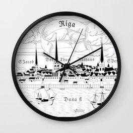 Riga 1544 (black on white) Wall Clock