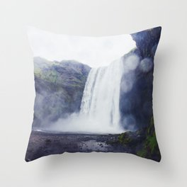 Standing at a Waterfall in Iceland Throw Pillow
