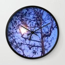 Early Morning Moon and Blue Sky Wall Clock