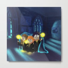 Harry, Hermione and Ron Metal Print