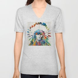 Native American Art - Chief - By Sharon Cummings Unisex V-Neck