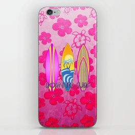 Pink Born To Surf Pink Flowers iPhone Skin