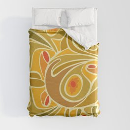 Rooster pattern in Yellow Goldenrod Duvet Cover