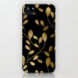 Art Deco-Inspired Gold Leaves on Gold Vines iPhone Case