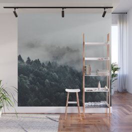 Misty Foggy Minimalist Landscape Photography Pine Forest Wall Mural