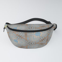 Beige and Blue Contemporary Tribal Pattern Fanny Pack
