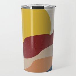 Abstract art sun and colored desert Travel Mug