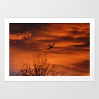 plane Art Prints featuring Plane by Fox Industries
