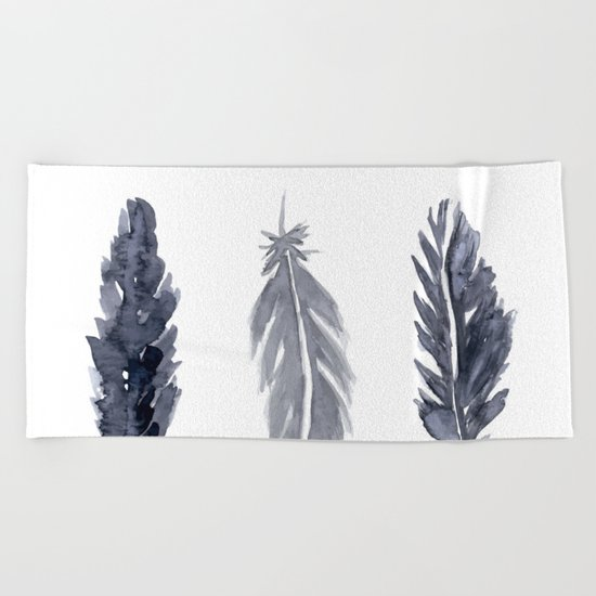 Black watercolor feathers Beach Towel