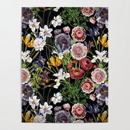 Vintage & Shabby Chic - Lush baroque flower pattern Poster