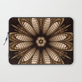 Abstract flower mandala with geometric texture Laptop Sleeve