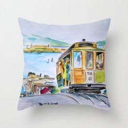 San Francisco Cable Car watercolor Throw Pillow