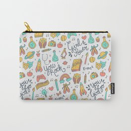 Girl Power - Coral + Aqua + Yellow Carry-All Pouch