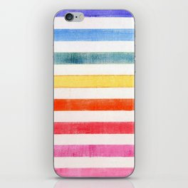 Rainbow stripes on canvas iPhone Skin