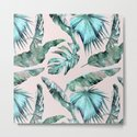 Tropical Palm Leaves Turquoise Green Coral Pink by naturemagick