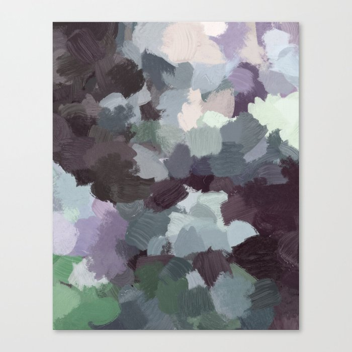 Dark Green Lilac Purple Gray Black Abstract Wall Art Painting Modern