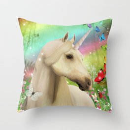 Magical Forest Unicorn Throw Pillow
