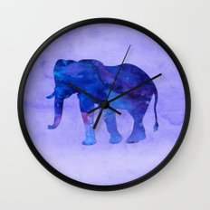 Blue Watercolor Elephant Wall Clock