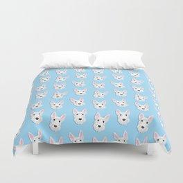 White Scottie Dog on Blue Background Duvet Cover
