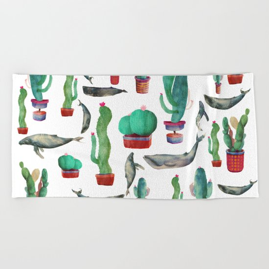 Cactus & whales Pattern Beach Towel
