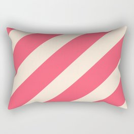 Antique White and Fiery Rose Diagonal Stripes Rectangular Pillow