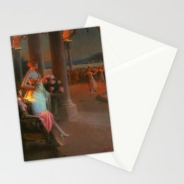 Classical Masterpiece 'Evening on the Terrace' by Delphin Enjolras Stationery Cards