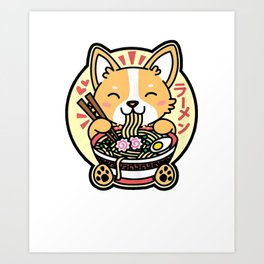 Kawaii Ramen Cute Anime Dog Corgi Japanese Noodles Art Print