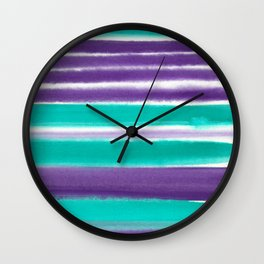 Teal and Purple Watercolor Stripes Wall Clock