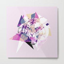 Geometric Exploding Tiger Metal Print