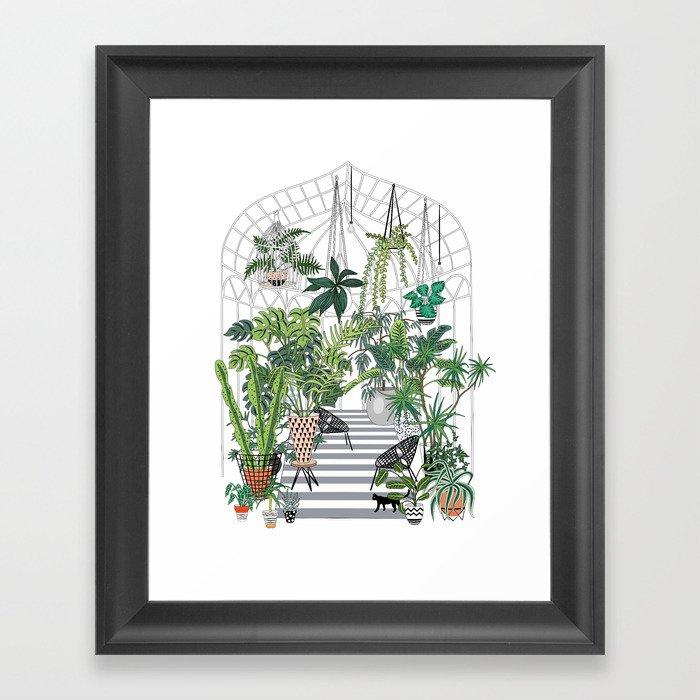 greenhouse illustration Gerahmter Kunstdruck