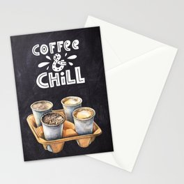 Coffee blackboard lettering — Coffee & Chill Stationery Cards