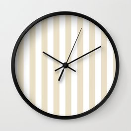 Narrow Vertical Stripes - White and Pearl Brown Wall Clock