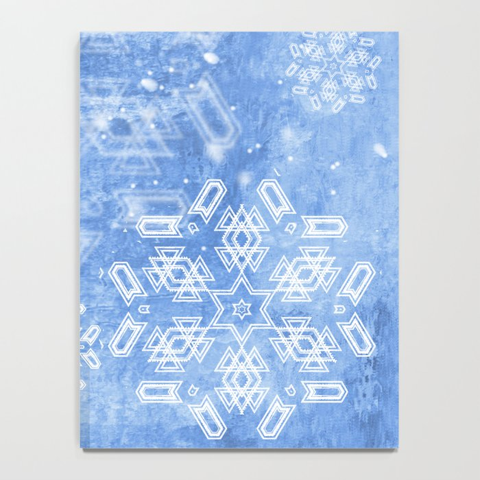 Abstract snow flakes on blue texture Notebook