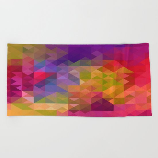 Bright Colorful Geometric Abstract Beach Towel