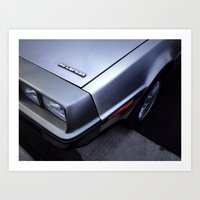 delorean Art Prints featuring DeLorean by John Dedeke