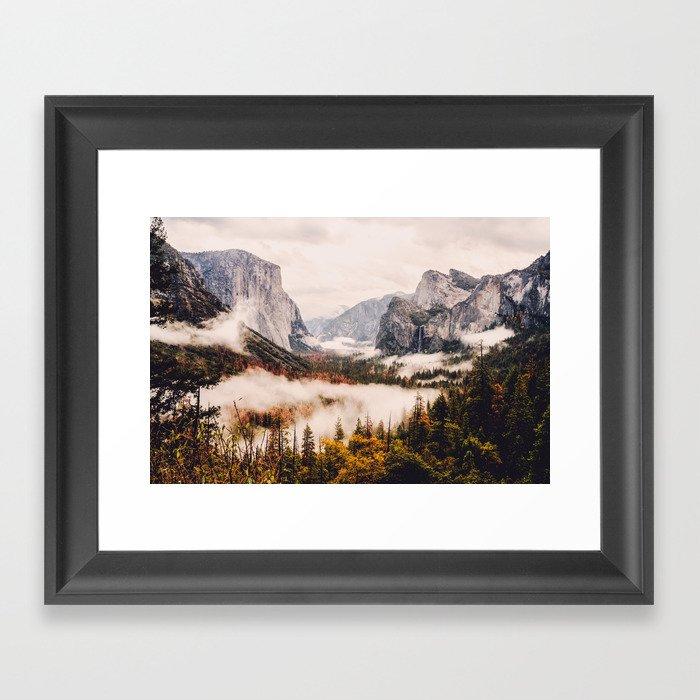 Amazing Yosemite California Forest Waterfall Canyon Gerahmter Kunstdruck