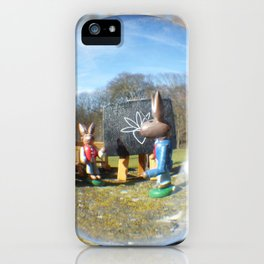 Easter Bunny school, Glass Ball Photography iPhone Case