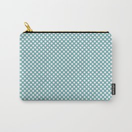 Aqua Sea and White Polka Dots Carry-All Pouch