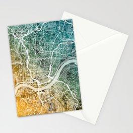 Cincinnati Ohio City Map Stationery Cards