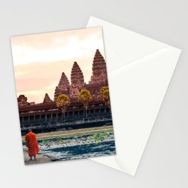 Monks at Angkor Wat Sunrise, Siem Reap, Cambodia Stationery Cards